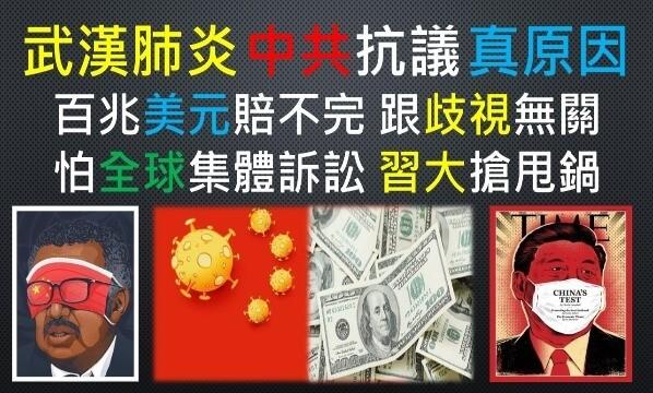 武漢肺炎-新冠肺炎-肺炎-病毒-COVID19-CORONAVIRUS-中共-中國-共產黨-習近平-政權-名稱-抗議-種族-國族-國家-中國人-亞洲-亞洲人-黃種人-歧視-關係-原因-經濟-財產-生命-疾病-災害-傳染病-醫療-人為-故意-損失-賠償-責任-逃避-躲避-美國-美元-法律-道德-集體-訴訟-提告-求償-金額-全球-國際-政府-民間-企業-個人-機構-機關-統戰-大外宣-文宣-新聞-網路-媒體-宣傳