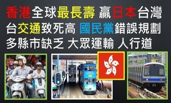 香港人-香港-居民-全世界-長壽-壽命-日本人-日本-台灣人-台灣-國民黨-統治-因素-忽略-機車-汽車-騎車-開車-道路-馬路-車禍-事故-肇事-死傷-人數-缺乏-人行道-大眾-鐵道-捷運-建設-健康-交通-政治-新聞-UNOLIN-2018年-2018